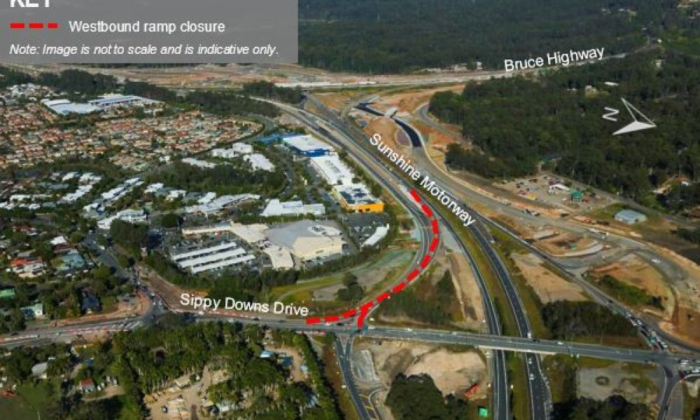 Westbound Sunshine Motorway entry ramp temporarily closed